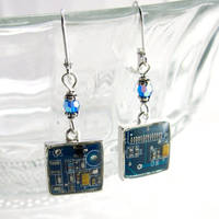 Domed Blue Circuit Board and Crystal Earrings
