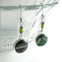 Domed Green Circuit Board and Crystal Earrings
