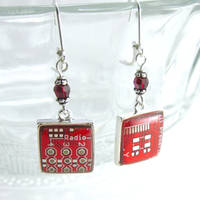 Domed Red Circuit Board and Crystal Earrings
