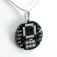 Black Circuit Board Necklace