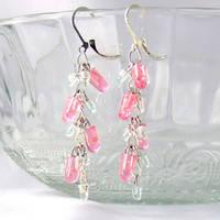 Pink LED Cluster Earrings