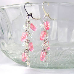 Pink LED Cluster Earrings by Techcycle