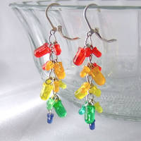 LED Cluster Earrings  Rainbow