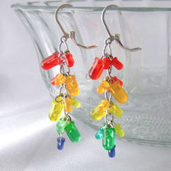 LED Cluster Earrings  Rainbow by Techcycle