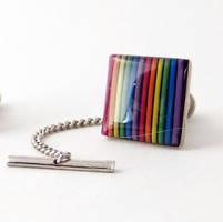 Domed Rainbow Tie Tack