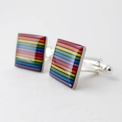 Domed Rainbow Cufflinks
