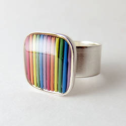 Domed Computer Cable Rainbow Ring