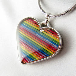 Domed Rainbow Heart Necklace
