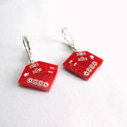 Ruby Red Diamond-Shaped Circuit Board Earrings by Techcycle
