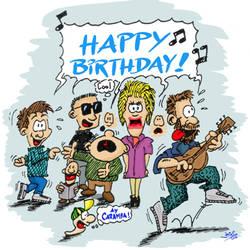 Happy Birthday singing people