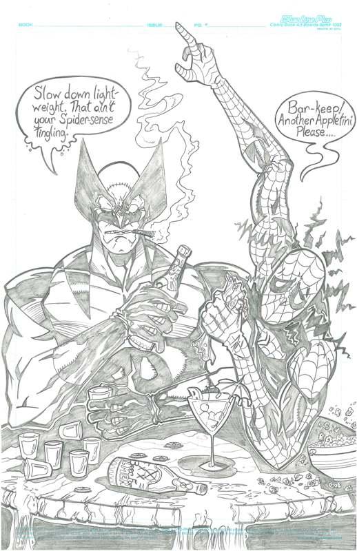 Wolverine vs Spiderman by HydeKomiksInk