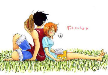 Nami and Luffy Back-to-Back