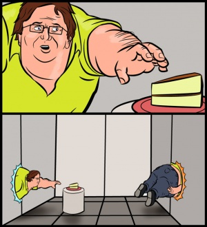 Gaben wants his cake. by dendrok
