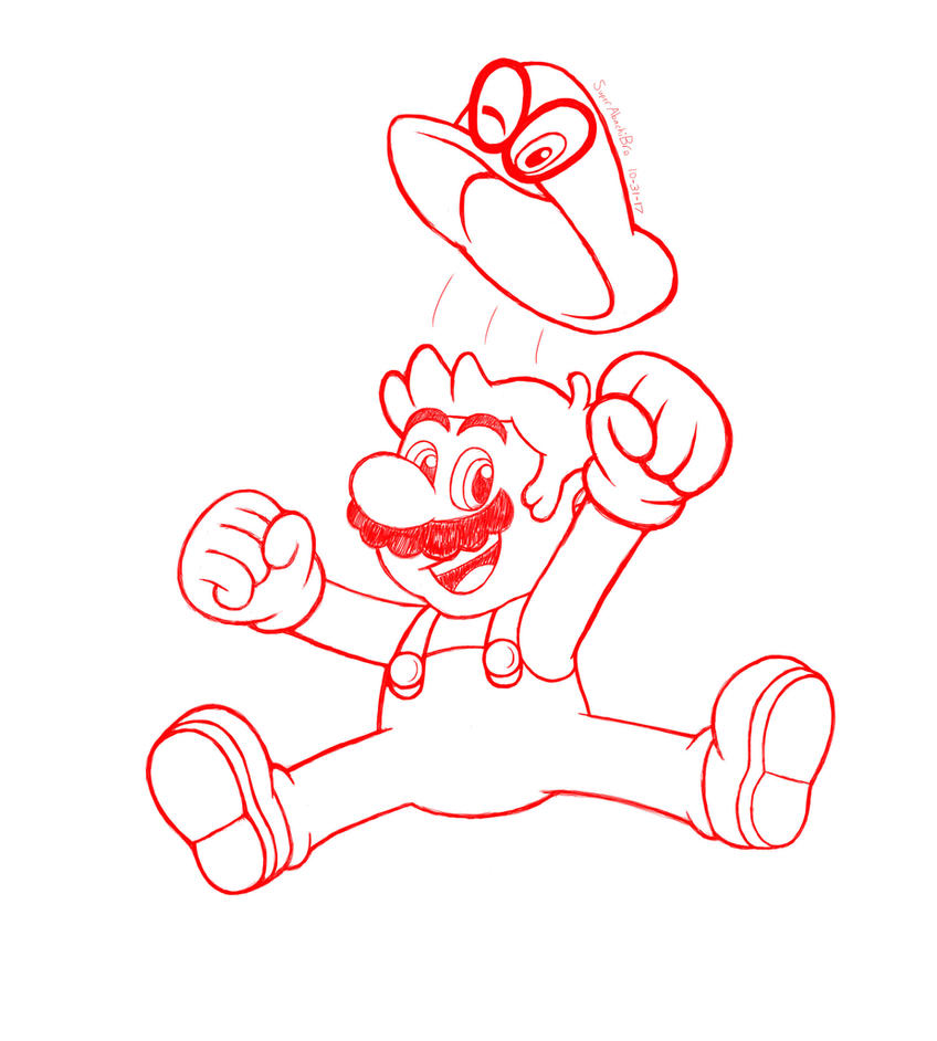 how to draw mario and cappy