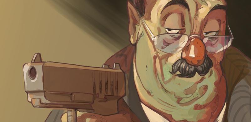 Gentleman Pointing Gun by mendigo-amigo