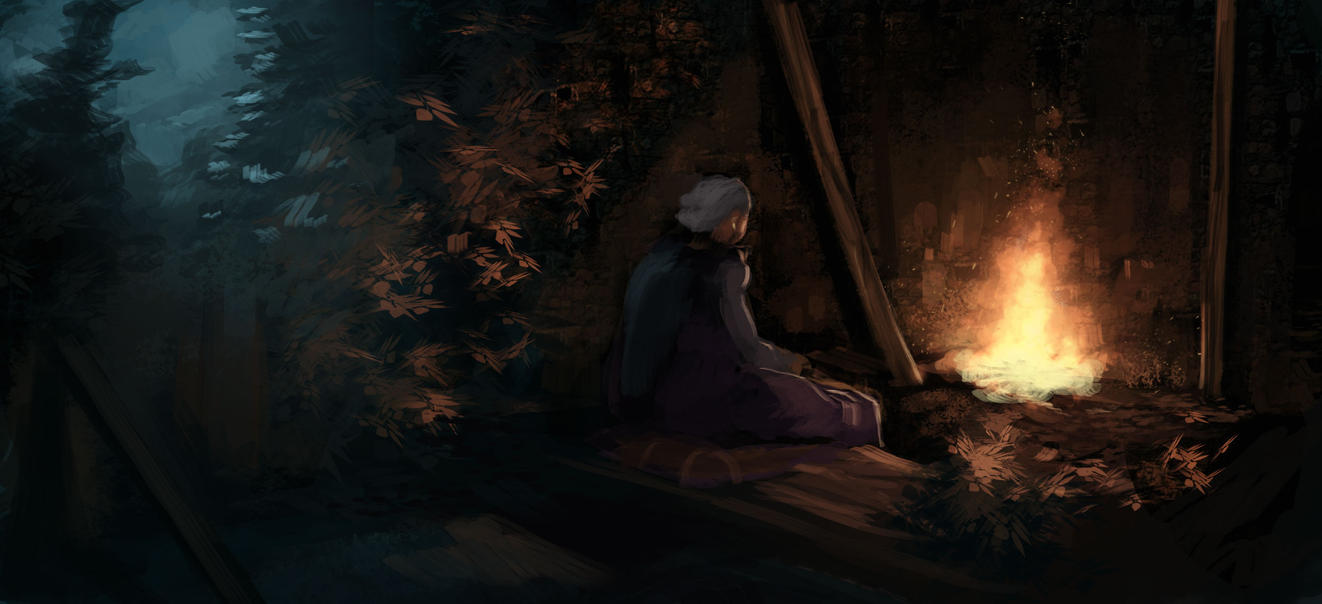Old woman in ruins by Miamelly
