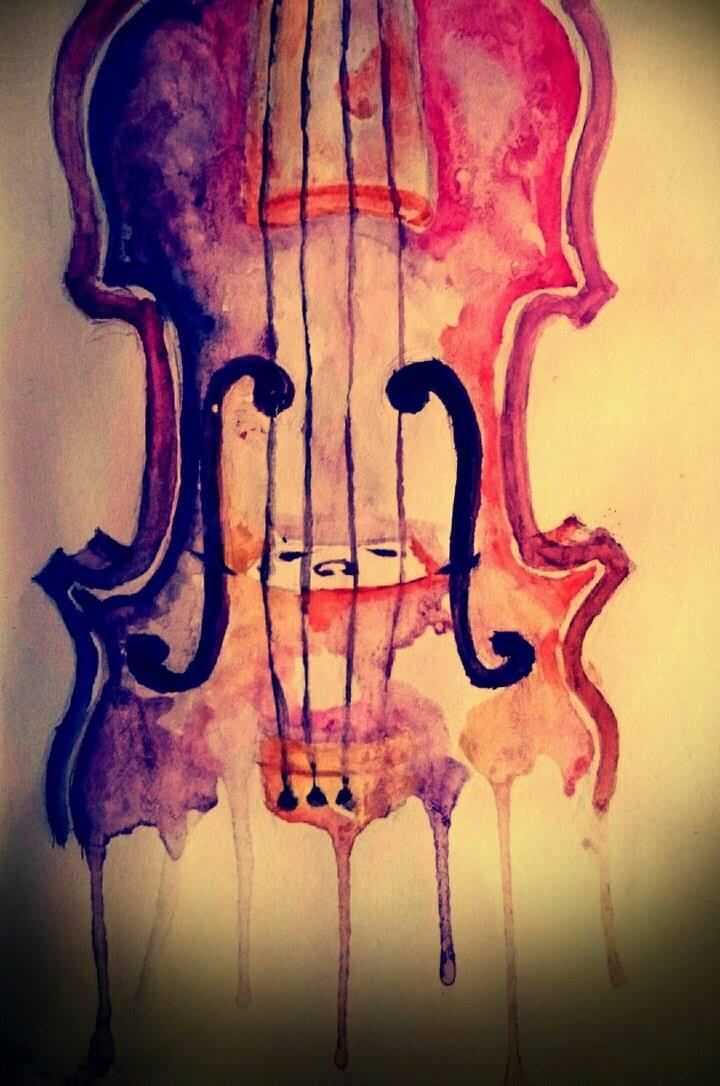 Watercolor Violin By Strawberriart