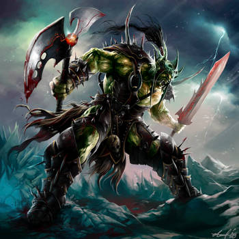 WOW fanart: Orc Death Knight by dwinbotp