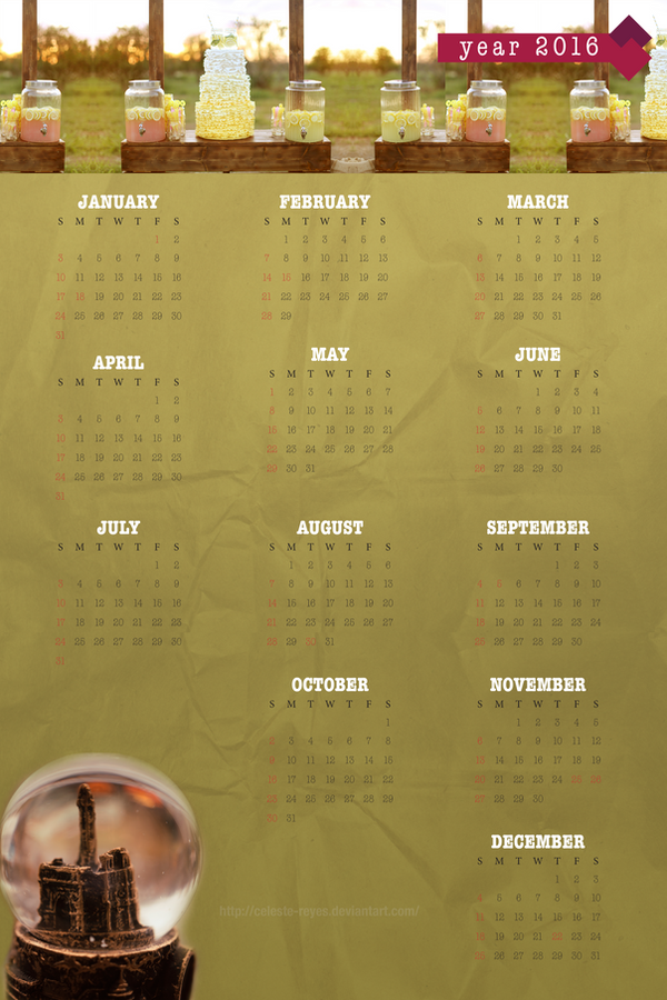 [Graphic Design] Vibrantly Vintage 2016 Calendar by Celeste-Reyes