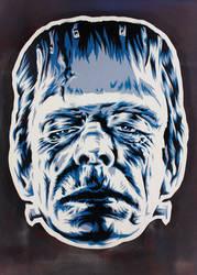 Frankenstein's Monster on cut wood