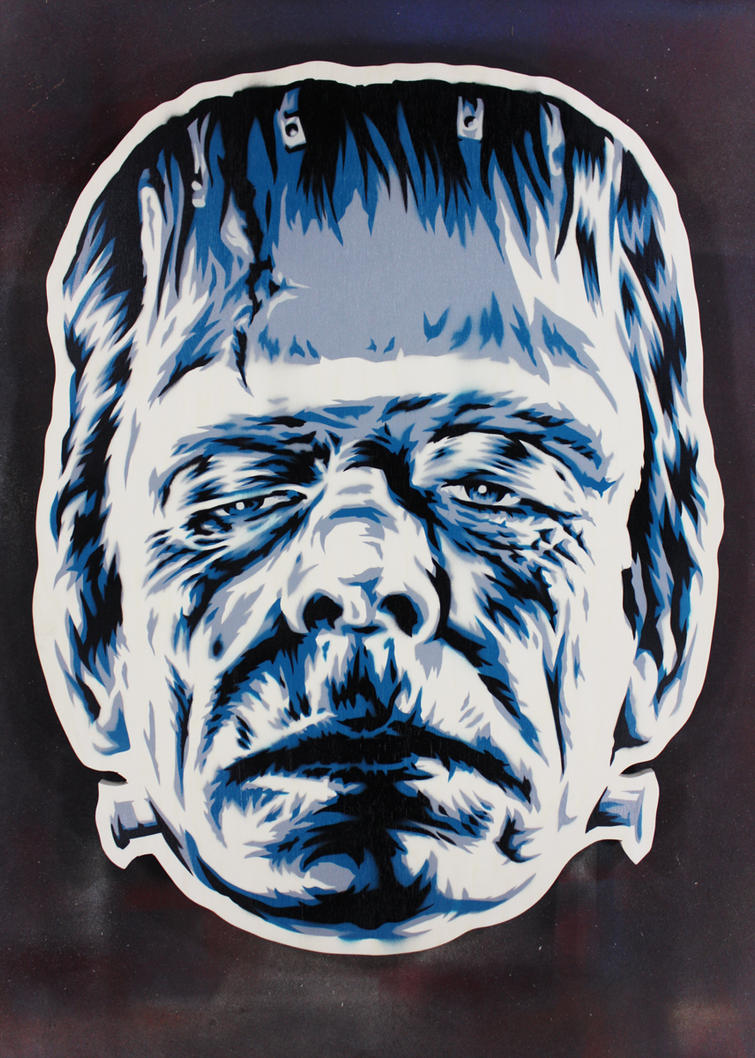 Frankenstein's Monster on cut wood by epyon5