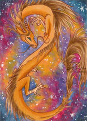 Galaxy dragon (ACEO) by Woodswallow