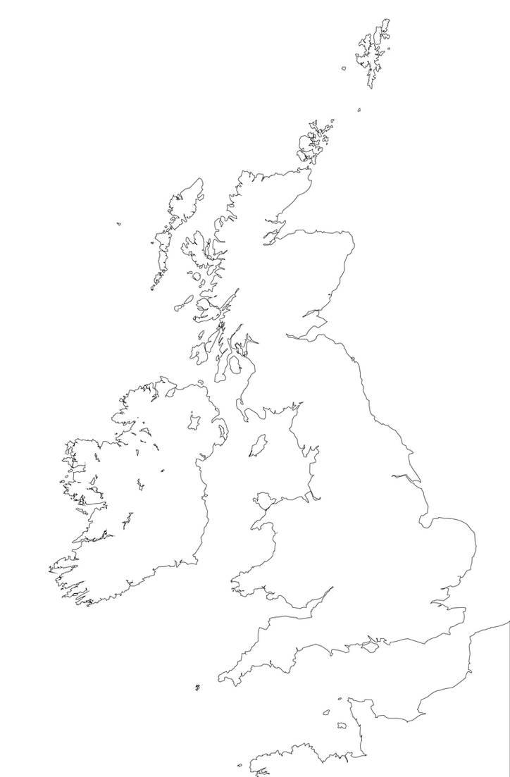 Blank Map British Isles OUTLINE WHITE BG by ImDeadPanda on DeviantArt