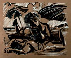 Juliette Binoche et Denis Lavant au bord de l'mer by sonsunbl4
