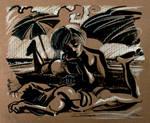 Juliette Binoche et Denis Lavant au bord de l'mer