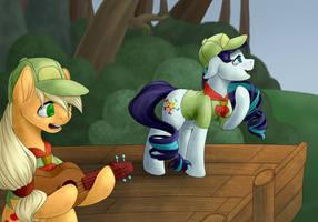 Rara and AppleJack by EvaKulIsReal