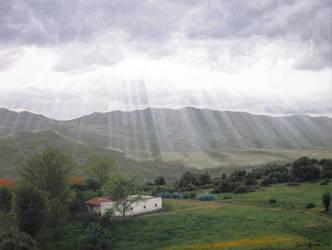 Sun rays - Oil painting by Ben-Seffaj