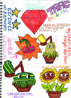 Four Plants and a Chaos Emerald. :) by badberry123