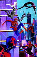 Spidermen Swinging in Chicago by skyscraper48
