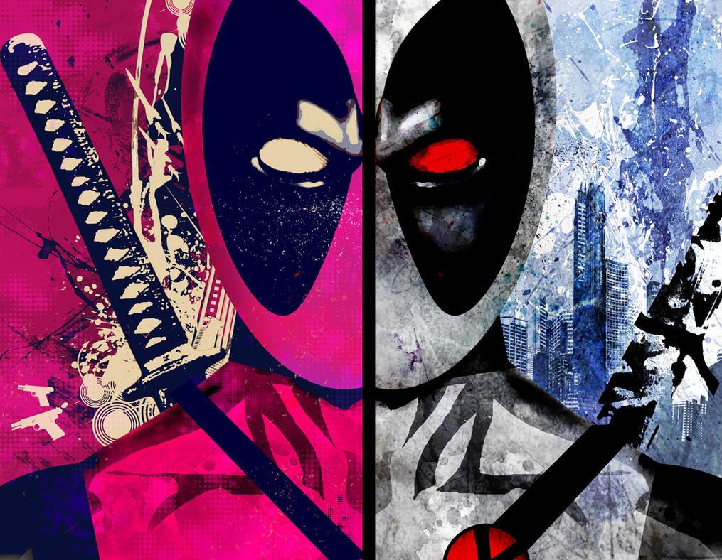 2 Deadpool Heads by skyscraper48