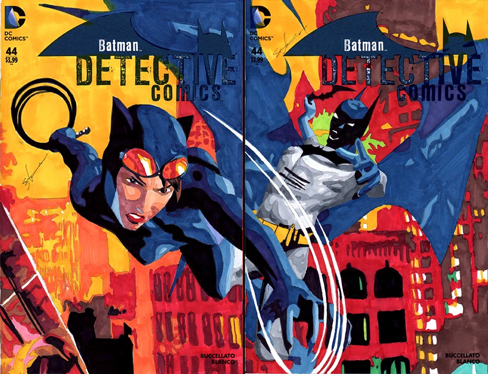 Batman vs Catwoman sketch cover by skyscraper48
