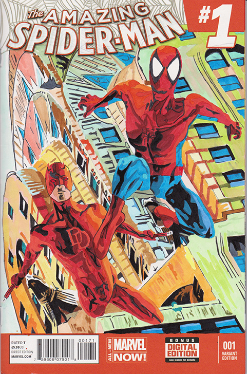 Spidey and Daredevil on ASM Sketchcover by skyscraper48