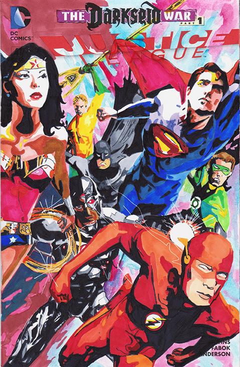 Justice League sketchcover by skyscraper48