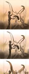Dinka in Sudan Painting Steps by timohuovinen