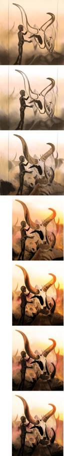 Dinka in Sudan Painting Steps
