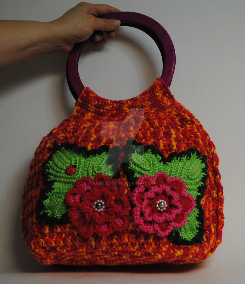 Colorful Crochet Handbag With Beautiful Flowers By Magicalstring On