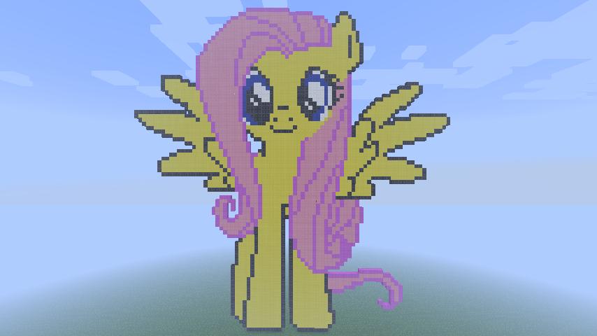 Minecraft Pixel Art- Fluttershy by MrEincorporatedd
