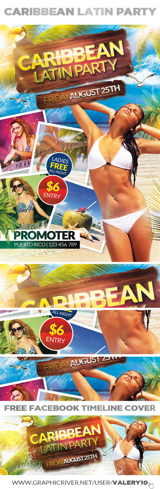 Caribbean Latin Party | Flyer + Facebook Cover by Valery ...