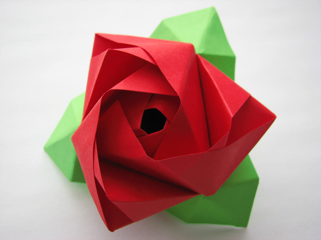 Origami rose with stem the image kid for How to make a paper rose origami