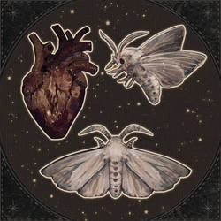 The light moths- stickers and prints