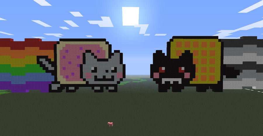 Nyan Cat Minecraft House Minecraft- gir dog by
