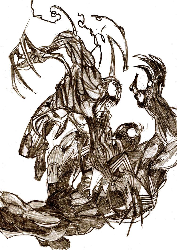 Venom vs Carnage - Sketch by ChocolateBiscuits on DeviantArt