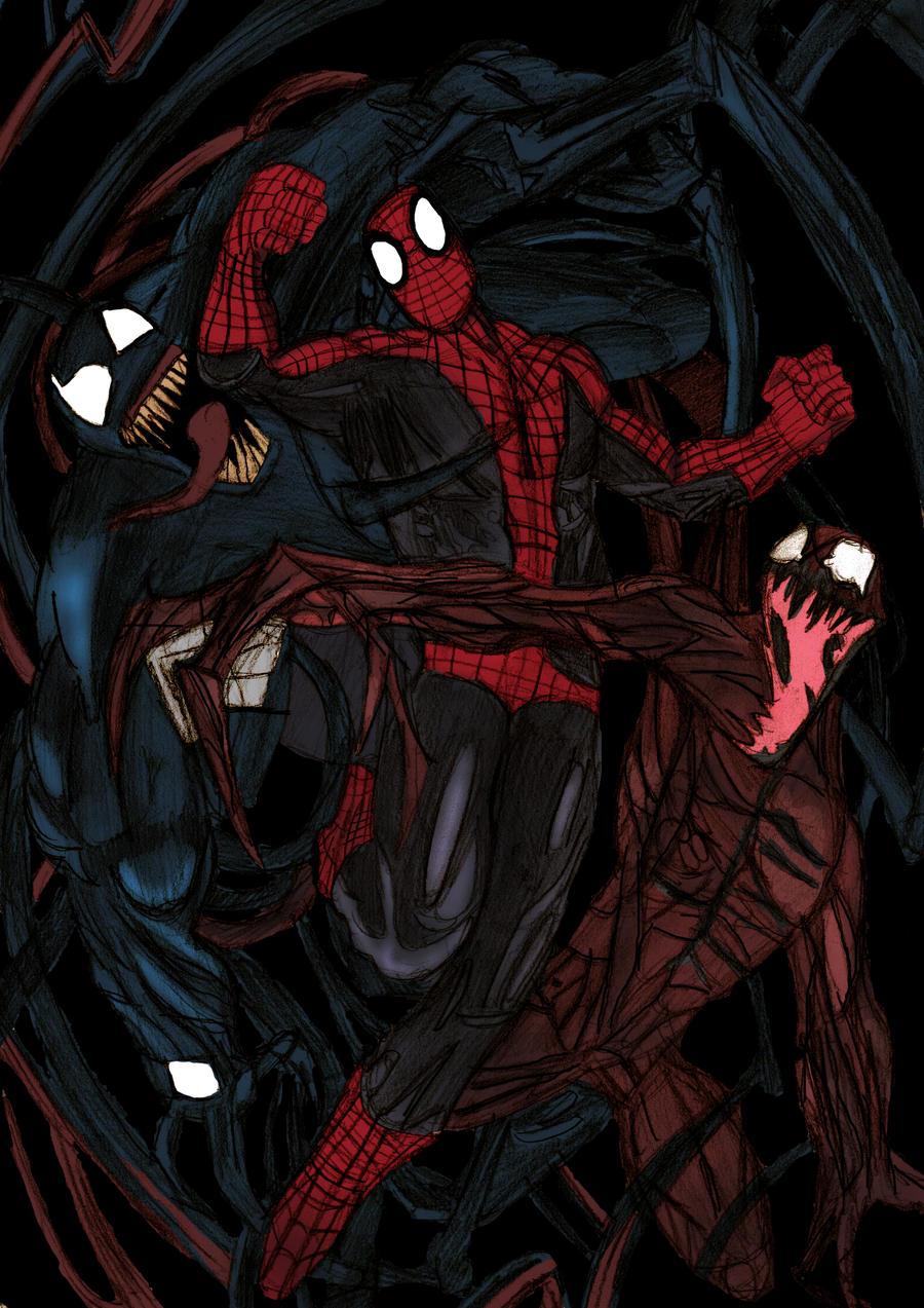 Spiderman vs Carnage and Venom - Colour by ChocolateBiscuitsVenom Spiderman 4