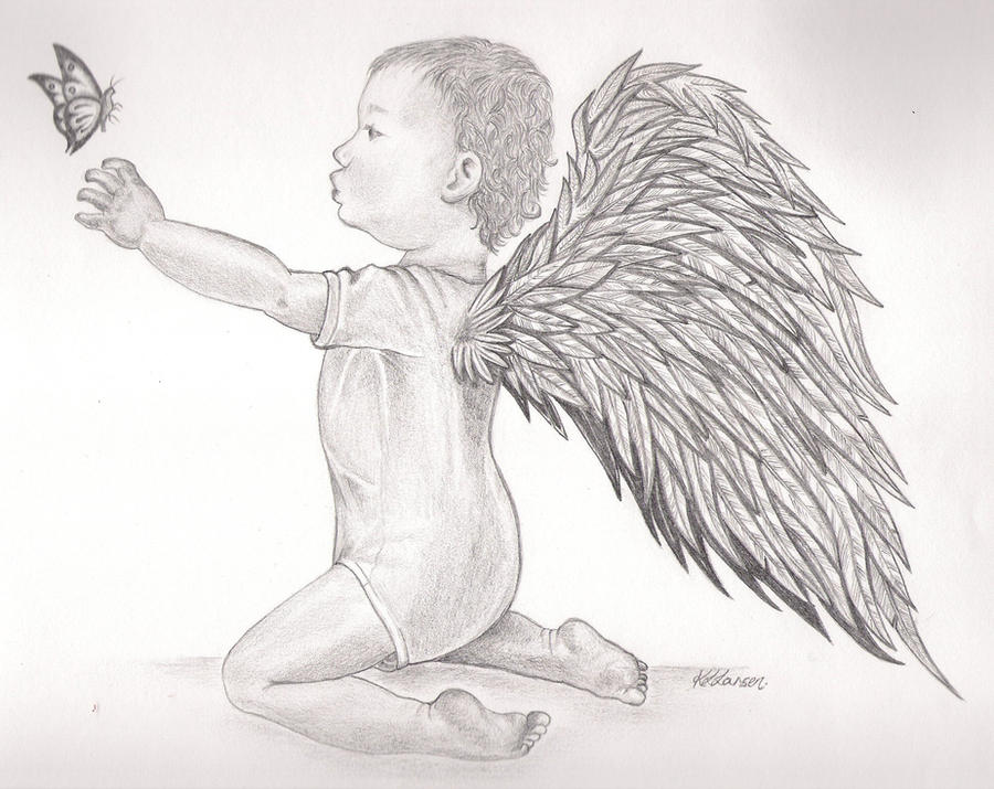 Pencil sketches of baby angels