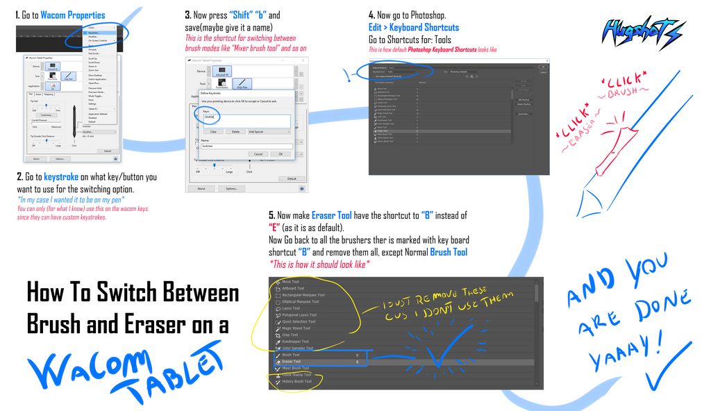 Tutorial Switching Brush and Eraser in one click by Hugshot