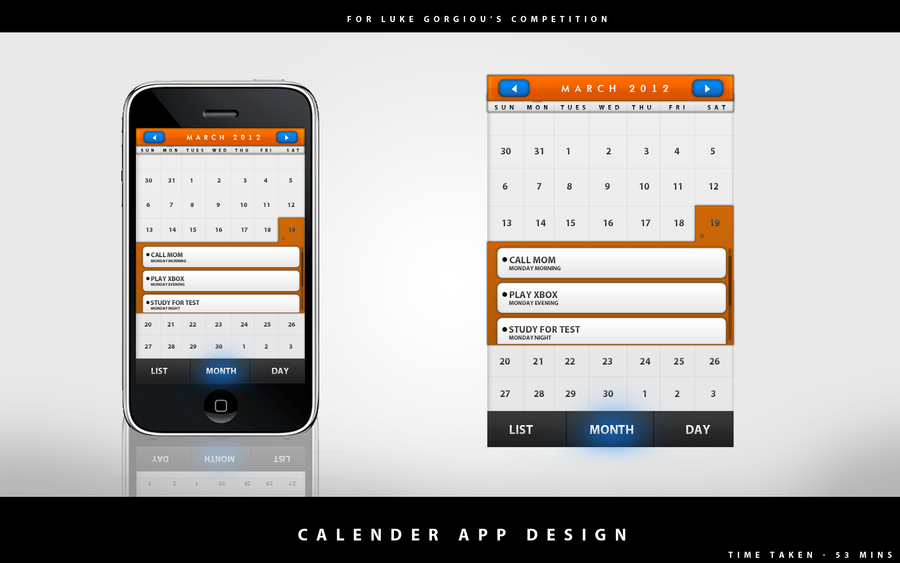 Calendar app design for android and iphone by gamebot78 on for Designing an iphone app